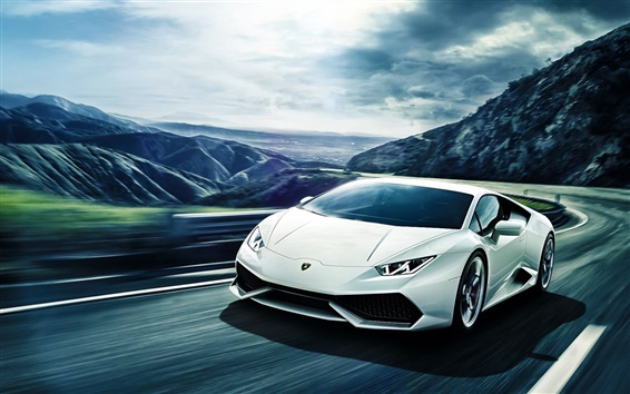 Wallpaper Lamborghini Huracan LP640-4 white supercar speed