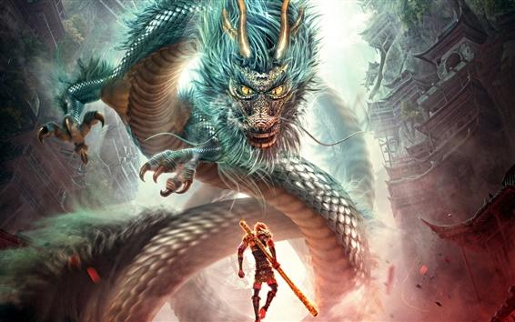 Fondos de pantalla Monkey King: héroe está de vuelta, lucha dragón