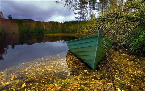 Wallpaper Morning, lake, boat, nature landscape