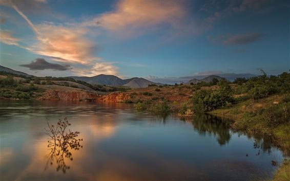 Wallpaper Mountains, lake, sunset