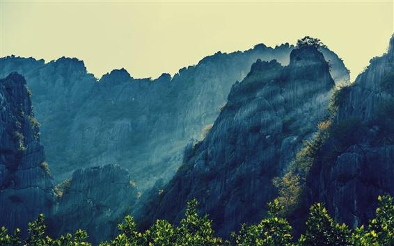 Обои Природа пейзаж, горы, солнце, деревья, Таиланд