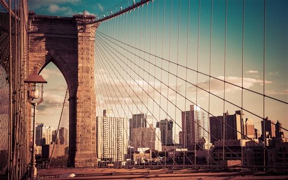 Papéis de Parede New York City, Ponte de Brooklyn, construção, EUA
