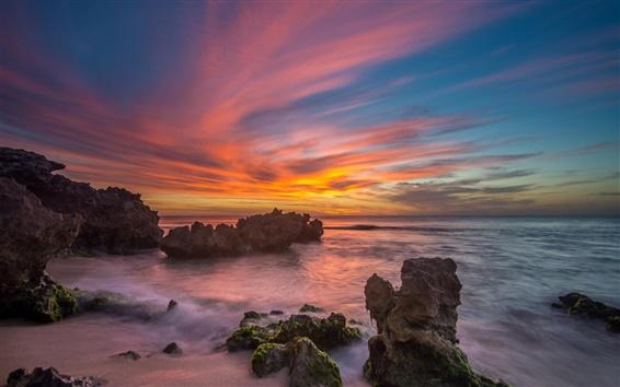 Wallpaper Ocean, rocks, sunset, clouds