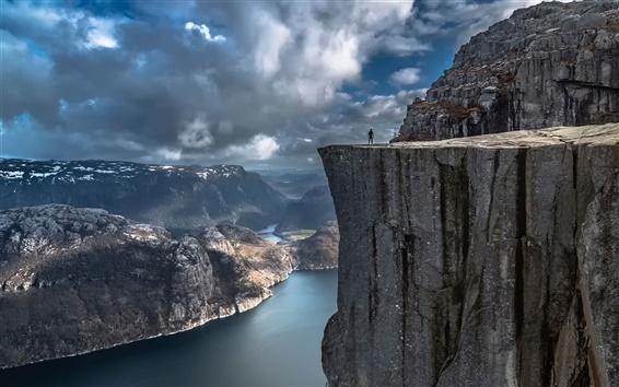 Wallpaper Preikestolen, Norway, rocks, cliff, clouds, storm