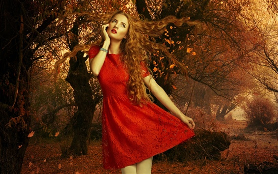 Wallpaper Red dress girl, autumn, leaves, trees