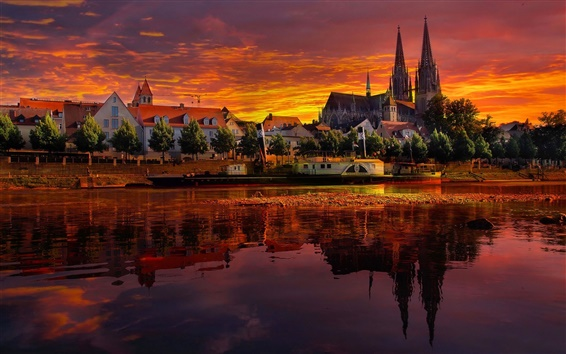 Wallpaper Regensburg, Germany, sunset, river, houses