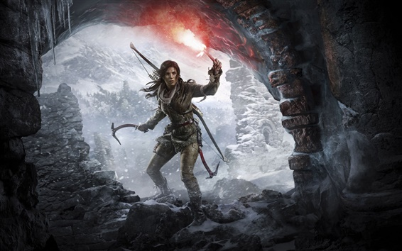 Wallpaper Rise of the Tomb Raider, Lara Croft, cave