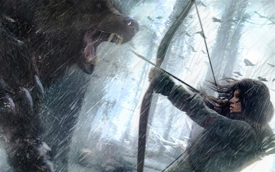 Wallpaper Rise of the Tomb Raider, Lara Croft with bear