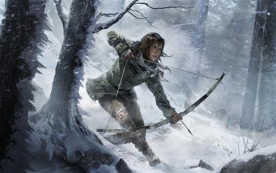 Fond d'écran Rise of the Tomb Raider, forêt d'hiver