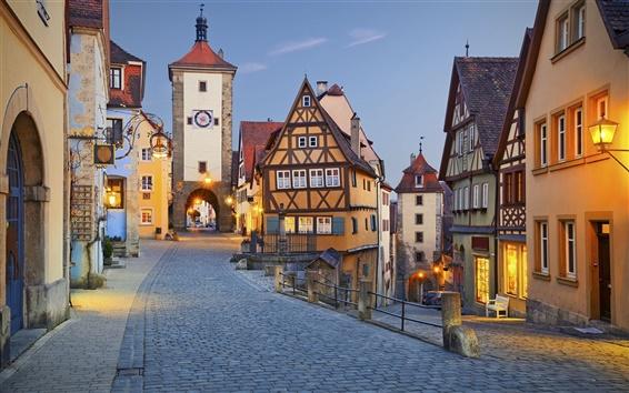 壁紙 ローテンブルク、ドイツ、夜、通り、ライト、家