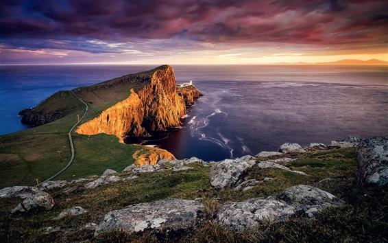 Wallpaper Scotland, Neist point, Skye island, lighthouse, sunset, sea