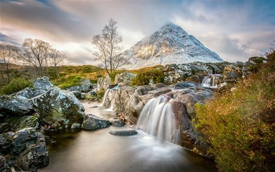 Wallpaper Scotland, Scottish highlands, mountain, stream, rocks