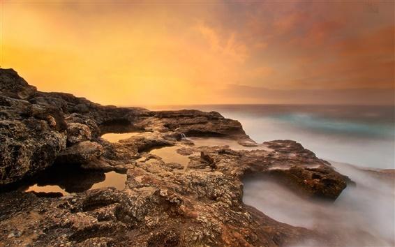 Fond d'écran Mer, la plage, les rochers, le matin, le lever du soleil