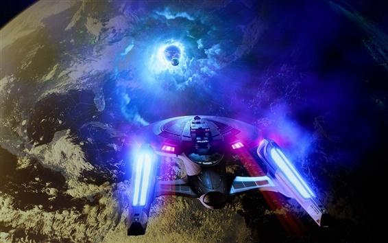 Papéis de Parede Star Trek, navio, planeta, design criativo