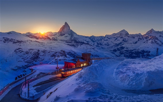 桌布 瑞士,阿爾卑斯山,山,天空,夕陽,冬天
