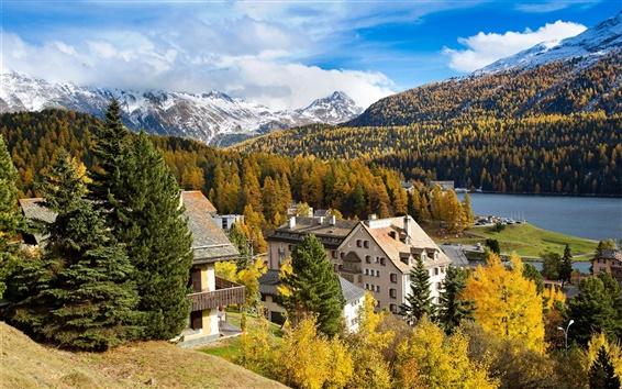 Wallpaper Switzerland, St. Moritz, mountain, trees, river, houses
