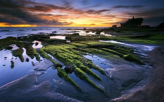 Wallpaper Tanah Lot, Bali, Indonesia, sea, beach, sunset, beautiful scenery