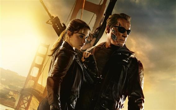 Wallpaper Terminator: Genisys, Emilia Clarke, Arnold Schwarzenegger