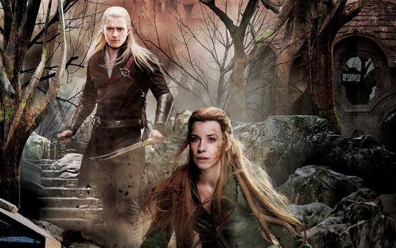 Wallpaper The Hobbit: The Battle of the Five Armies, Evangeline Lilly, Orlando Bloom