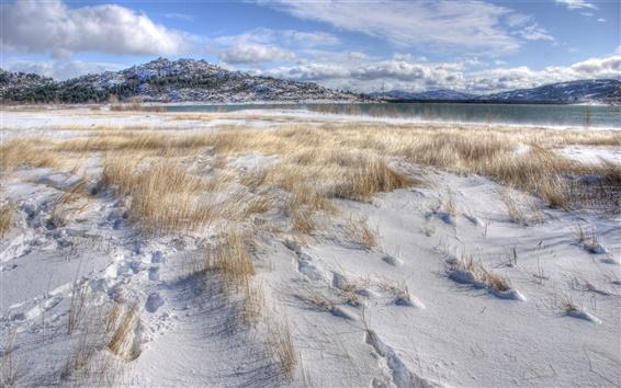 Wallpaper Thick snow, grass, winter, lake, mountains