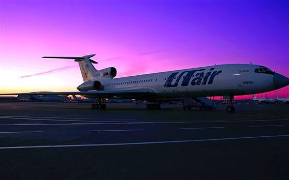Wallpaper Tupolev Tu-154 aircraft, passenger airport, sunset