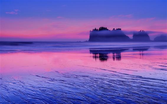 Wallpaper USA, Washington, Pacific ocean, sea water, pink sunset, clouds, blue