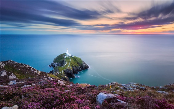 Papéis de Parede País de Gales, mar irlandês, farol