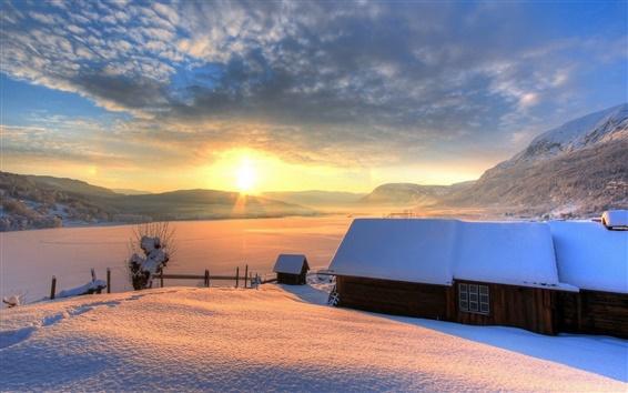 Wallpaper Winter, snow, house, mountains, sky, sun