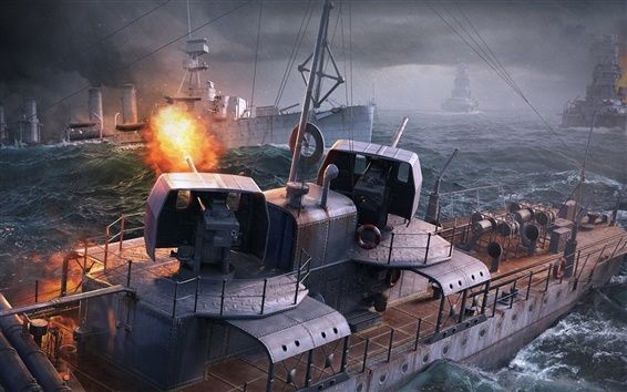 Wallpaper World of Warships, PC game, sea, ships