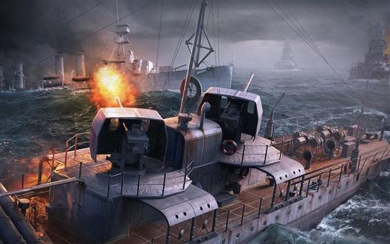 Fondos de pantalla Mundo de los buques de guerra, juegos de PC, el mar, los barcos