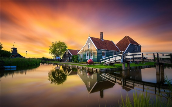 Wallpaper Zaanse Schans, Netherlands, bridge, house, windmill, canal, sunset