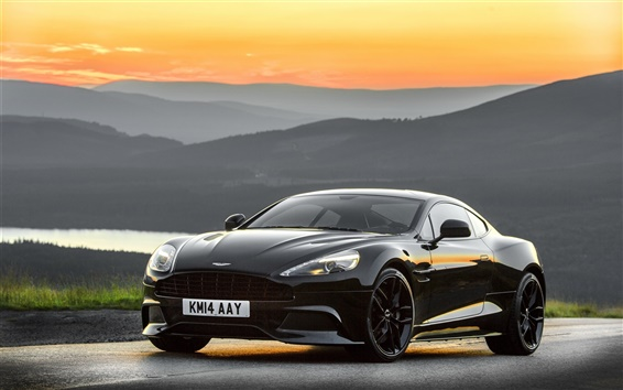 Wallpaper 2014 Aston Martin black car, sunset
