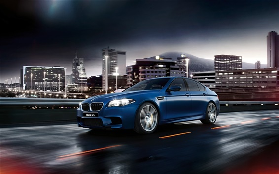 Wallpaper 2015 BMW M5 F10 blue car side view
