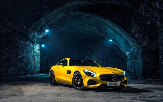 壁紙 2015メルセデスAMG GT C190黄色のスーパーカー
