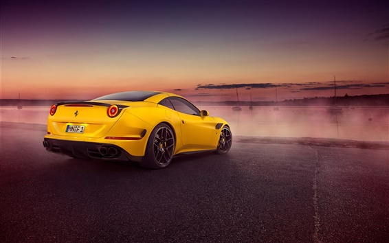 Wallpaper 2015 Pininfarina Ferrari California yellow supercar rear view