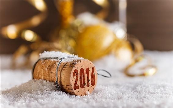 Wallpaper 2016 Happy New Year, bokeh, cork, snow