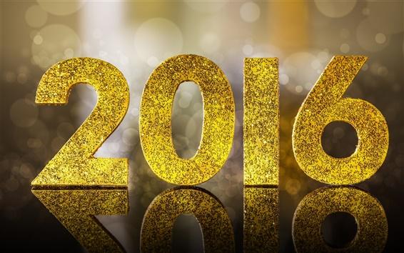 Обои 2016 С Новым годом, золотой блеск