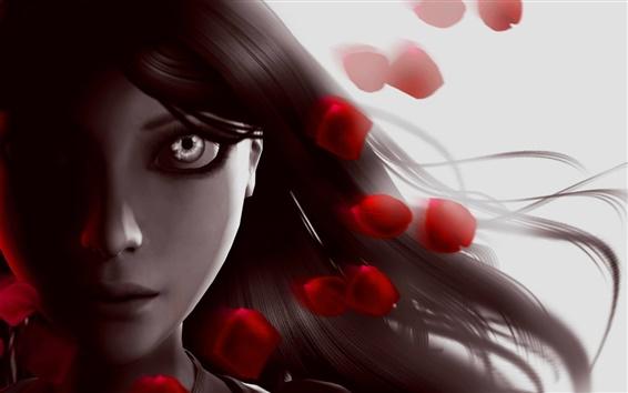 Wallpaper Alice: Madness Returns, girl, face, eyes, hair, petals