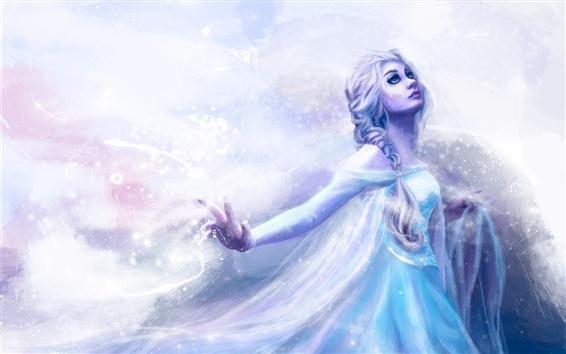 Papéis de Parede Pintura da arte, menina, vestido azul, frio, neve, tempestade de neve