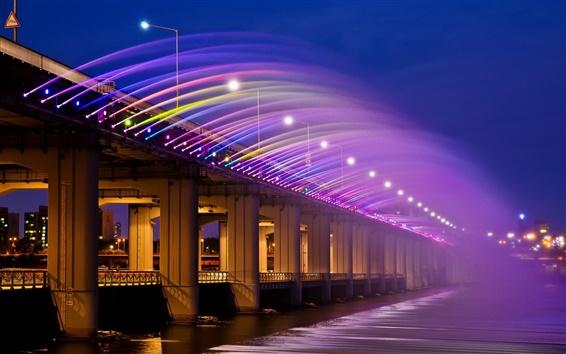 Wallpaper Asia, Korea, Seoul, Banpo Bridge, rainbow fountain, night lights