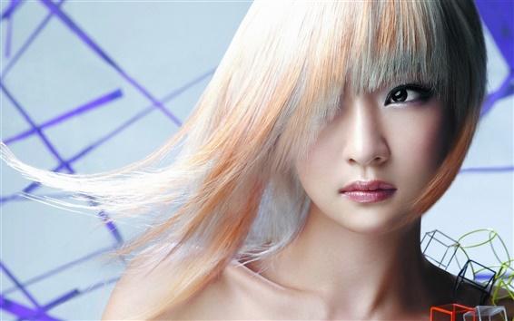 Wallpaper Asian girl, white hair, eyes, makeup