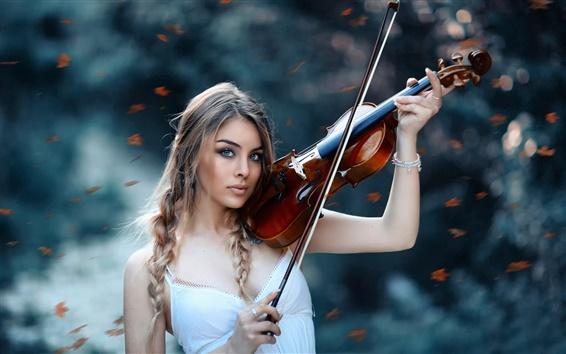 배경 화면 가을 교향곡, 소녀, 바이올린