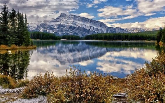 Fond d'écran Parc national de Banff, le Canada, le lac, les montagnes, les nuages