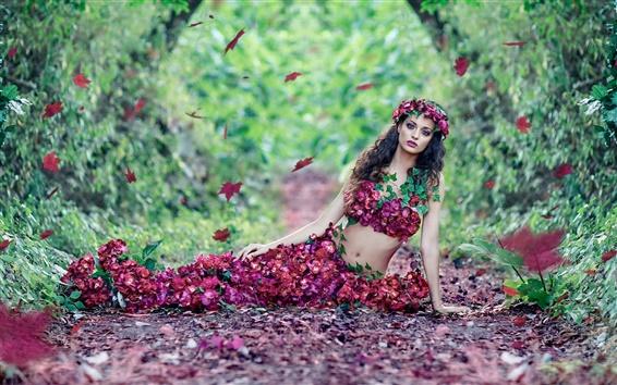 Обои Красивая девушка, цветы, платье листья, осень