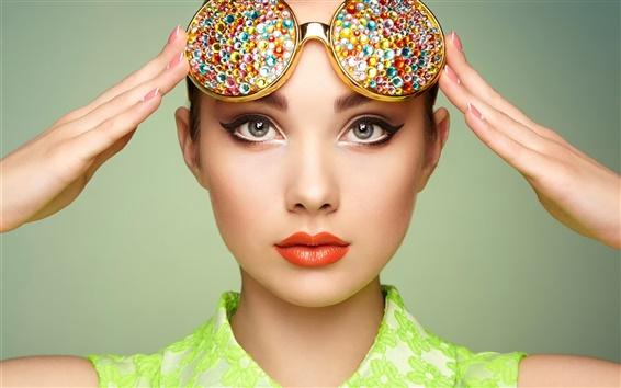 Wallpaper Beautiful girl, portrait, makeup, sunglasses