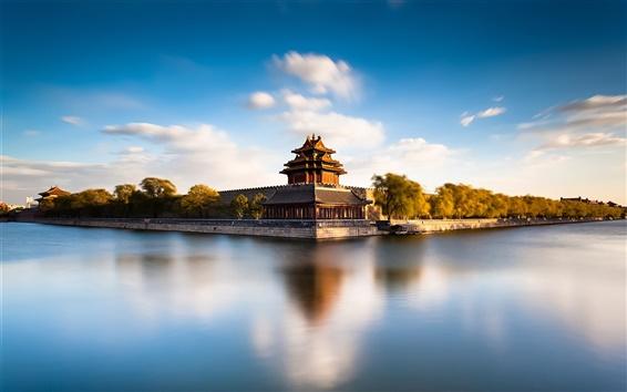Обои Пекин Запретный город Ров, Китай, река, вода отражение