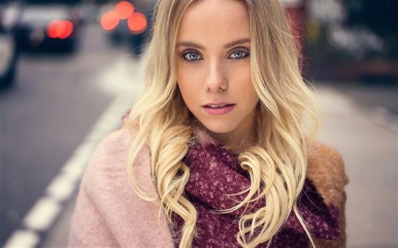 Wallpaper Blonde girl at street