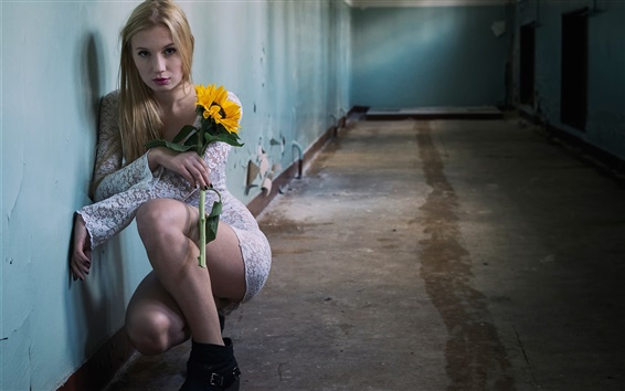 Wallpaper Blonde girl, corridor, flower
