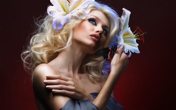 Wallpaper Blonde girl, makeup, butterfly, flowers