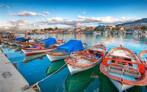 Fondos de pantalla Barcos, yates, bahía, muelle, casas, nubes
